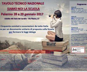 TAVOLO TECNICO NAZIONALE Palermo 28 e 29 gennaio 2017 Ostello Baia del Corallo – Via Plauto, 27