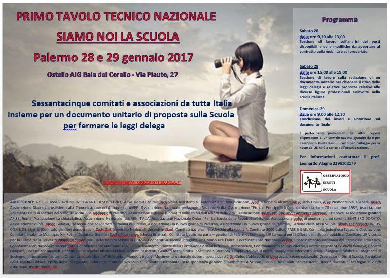Siamo Noi la Scuola - Tavolo tecnico nazionale - Palermo il 28 e 29 gennaio