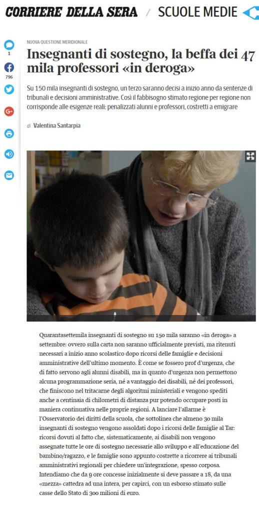 Insegnanti di sostegno, la beffa dei 47 mila professori «in deroga»